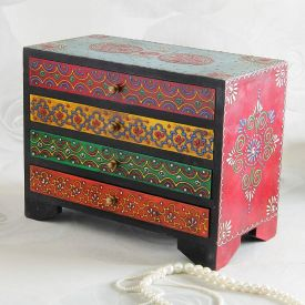 Rectangular Embossed Painted Wooden Box With Four Drawers
