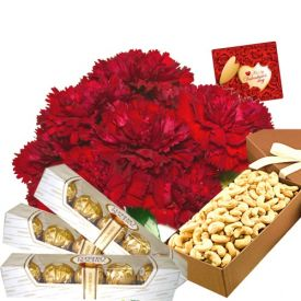 Dry Fruits With Flowers And Chocolates Combo