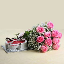 10 Pink Roses with Half Kg Strawberry Cake