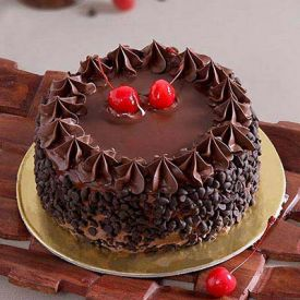 Round Chocolate Cake with Chocolate Chips & Cherry Toppings
