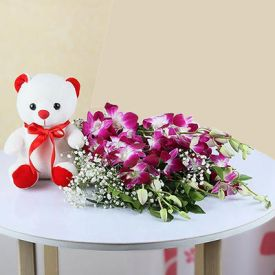 6 Purple Orchids with 6 Inches Teddy Bear