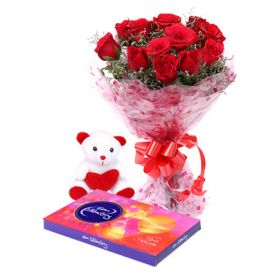 10 Red Roses, Teddy Bear (6 Inch) and Cadbury Celebration Pack