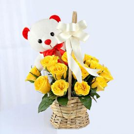 15 Yellow Roses in Round Basket with Teddy Bear