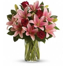 Pink lilies & red roses with vase
