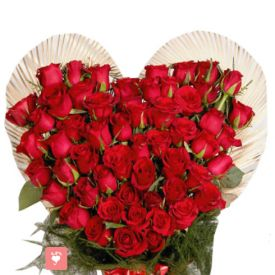 50 Red Roses in Heart Shaped Basket