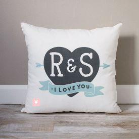 Initials In Heart Pillow