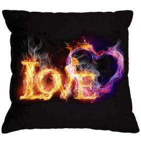 "Burning heart Black pillow ""LOVE"" Gift ideas Valentine's Day Gift for her Gift for him"