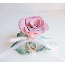 Pink Rose Ring Bearer Pillow Alternative - Fairytale Princess Wedding Beauty & the Beast Rose