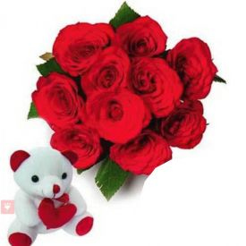 12 red roses and 6'' teddy