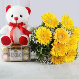 10 Yellow Gerberas with Ferrero Rocher & Teddy