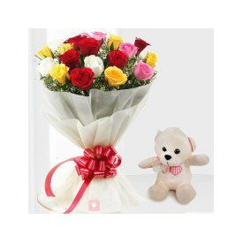 combo of 12 mixed Roses & adorable small teddy