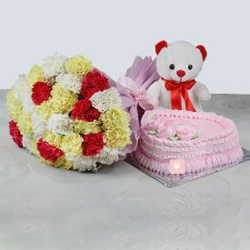 30 Mixed Carnation with 1 Kg Cake (Eggless) & Teddy