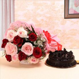 Roses With Choco Cake