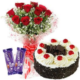 A bunch of 15 red roses, black forest cake and 2 dairy milk chocolate