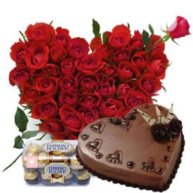 Heart of 50 Red Roses, heart shape 1 Kg chocolate cake with 16 pcs ferrero Rocher