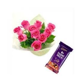 10 pink roses with 1 dairy-milk chocolate
