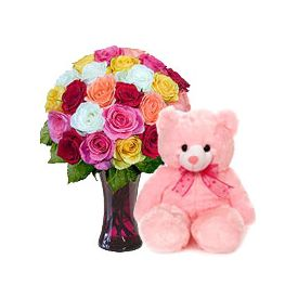 A vase of 30 mixed roses, and pink 12-inch- teddy