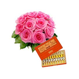 Pink Roses Bouquet and Assorted Sweets Box consisting of Burfis, Pedas, Soan Papri, Laddoos