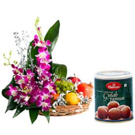 Mixed Flowers,2 Kg Mixed Fruits and 1 Kg Gulab Jamun