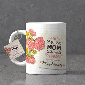 Best Mom Personalized Birthday Keychain & Mug combo