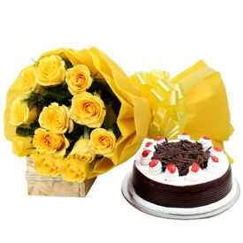 Perfect Combo To Gift and 12 Yellow Roses ,Blackforest Cake - 1-2 kg
