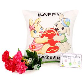 Easter Bunny Cushion with 7 pink carnmations