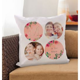 M is for Mum Multi Photo Upload Personalised Cushion - Neon Blush