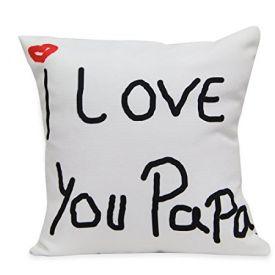 Love You Papa Cushion White