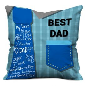 Gift for Father Best Dad Printed Cushion (12x12 inch) with Filler - Blue