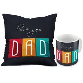 Gift for Dad Fathers Day Love You Dad Grey Printed Small Cushion 12X12 with Filler and Best Quality