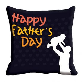 Black Happy Father's Day Cushion Cover (12x12)