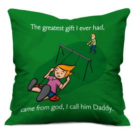 God Daddy Green Small Cushion with Filler 12X12