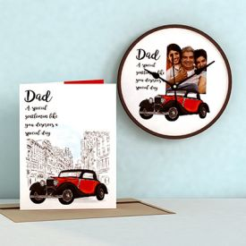 Special Day for Dad Personalized Clock and Card Combo