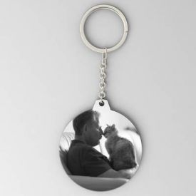 Cat Lover Round Key Chain