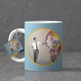 Creative thinking Personalized Father's day Keychain & Mug combo