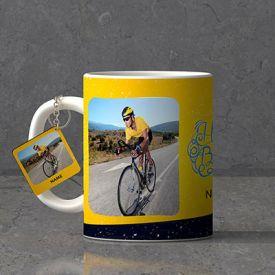 Fast Rider Personalized Birthday Keychain & Mug combo