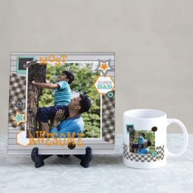 Most Awesome Dad Personalized Tile & Mug Hamper
