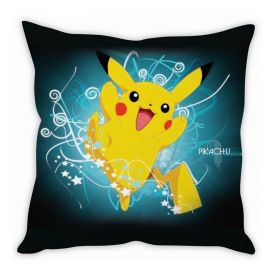 Pikachu Pokmon Black & Blue Silk Cushion