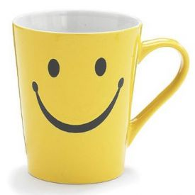 Kids Ceramic Mug Smiley Face Print White & Yellow