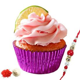Strawberry Cup Cakes with Rakhi