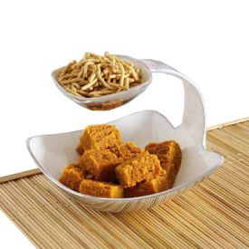 Besan Barfi & Sev Bhujia With Ceramic Serving Platter
