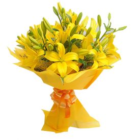 Bouquet of 8 Yellow Asiatic LiliesBouquet of 8 Yellow Asiatic Lilies