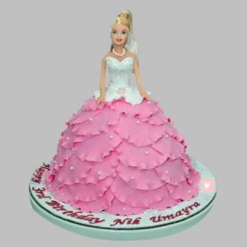 White N Pink Barbie Cake