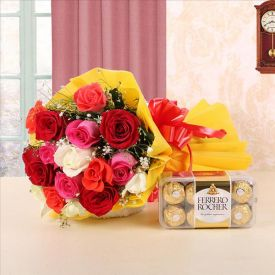 Mixed roses with ferrero rocher.