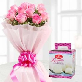 1 Kg Haldiram's Rasgulla and bunch of 10 Pink Rose