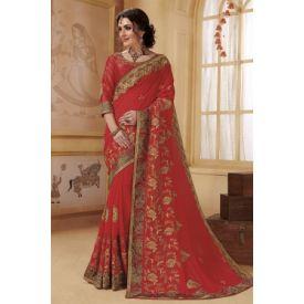 Faux Red Designer Saree