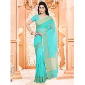 Blue Plain Saree With Blouse