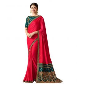 Bigben Red and Green Silk Saree