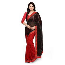 Red & Black Georgette Polka Dots Printed Saree