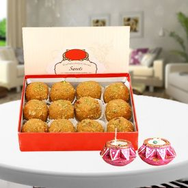 Box of Besan Laddu with diya